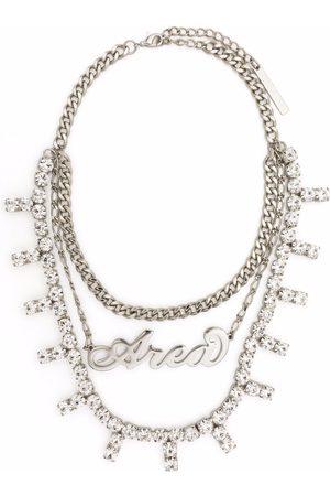 AREA Logo crystal-embellished necklace