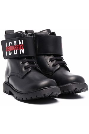 Dsquared2 Kids Logo-strap leather boots