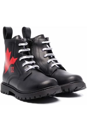 Dsquared2 Kids Maple-leaf print leather boots