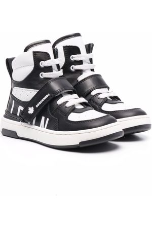 Dsquared2 Kids Boys Sneakers - High-top panelled leather trainers