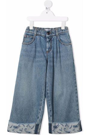 Brunello Cucinelli Kids Girls Straight - Straight-leg cotton jeans