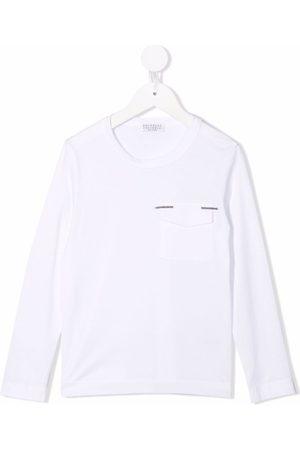 Brunello Cucinelli Kids Girls Long Sleeve - Flap-pocket cotton T-shirt