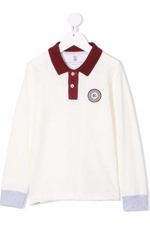 Brunello Cucinelli Kids Boys Polo Shirts - Logo-patch cotton polo shirt
