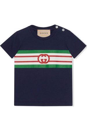 Gucci Baby Polo Shirts - Monogram-print stripe-detail polo shirt