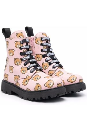 Moschino Girls Ankle Boots - Teddy Bear lace-up boots