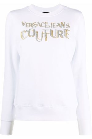 VERSACE Women Sweatshirts - Logo-print cotton sweatshirt