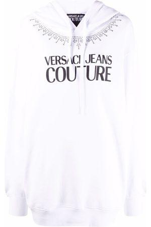 VERSACE Logo-print pullover hoodie