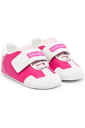 Dolce & Gabbana Baby Sneakers - Leather logo touch-strap sneakers