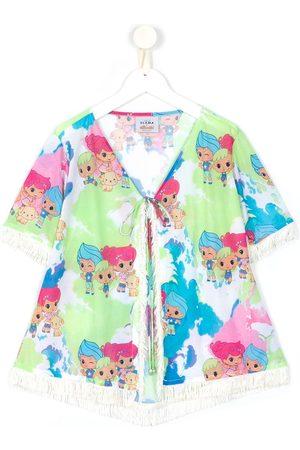 AMIR SLAMA Girls Printed Dresses - Printed + CHOCOLIX short sleeves dress