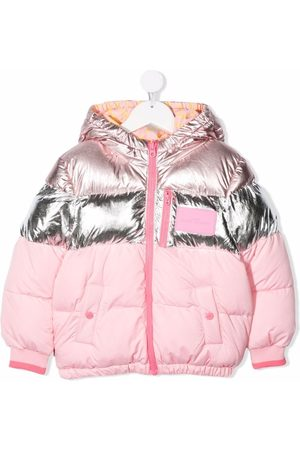 The Marc Jacobs Metallic-effect logo-patch padded jacket