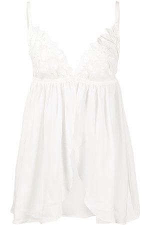 FLEUR DU MAL Women Thongs - Lily embroidered babydoll G-string set