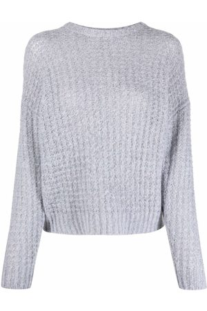 PESERICO SIGN Women Jumpers - Waffle-knit ribbed-trim jumper