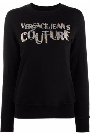 VERSACE Logo-print glitter-detail sweatshirt