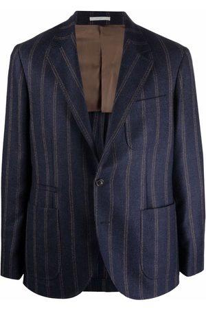 Brunello Cucinelli Men Blazers - Stripe-pattern single-breasted blazer