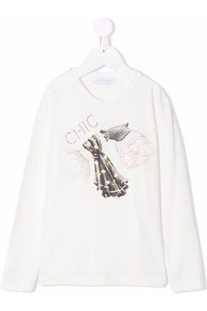 MONNALISA Girls Long Sleeve - Graphic-print stretch-cotton T-shirt