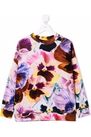 Molo Kids Girls Sweatshirts - Floral-print cotton-blend sweatshirt
