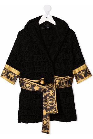 VERSACE Logo-print hooded bathrobe