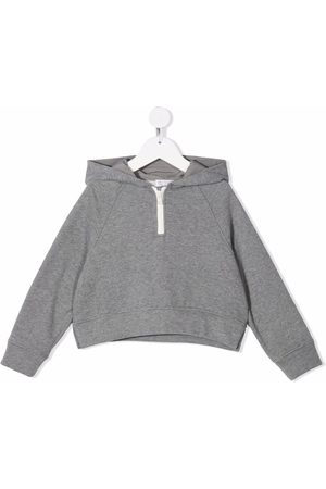 Brunello Cucinelli Girls Jumpers - Cropped pullover hoodie