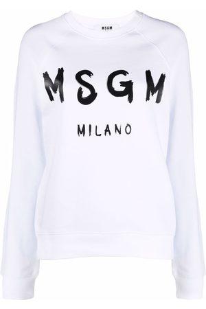 Msgm Women Sweatshirts - Logo-print crew neck sweatshirt