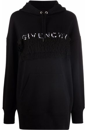 Givenchy Women Hoodies - Lace-embellished logo hoodie