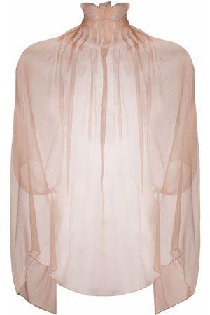 Atu Body Couture Sheer silk ruffled-neck tunic
