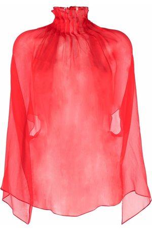 Atu Body Couture Sheer pleated silk tunic