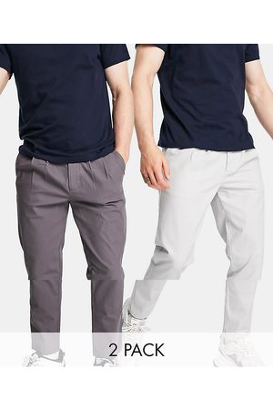 ASOS DESIGN Men Chinos - 2 pack cigarette chinos with pleats in charcoal and light grey save-Multi