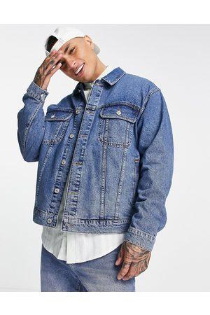 Topman Oversized fit denim jacket in vintage