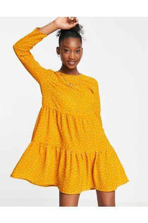 ASOS DESIGN Women Casual Dresses - Long sleeve tiered smock mini dress in mustard spot print-Multi