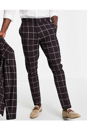 ASOS DESIGN Skinny suit trousers with window pane check in burgundy