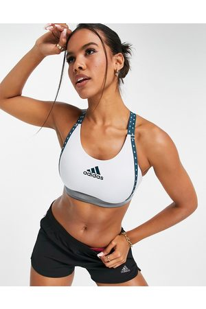 adidas Women Sports Bras - Adidas Training mid support bra with taped logo in light