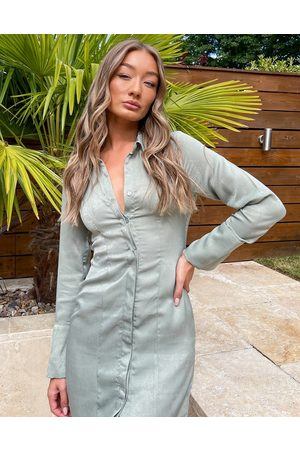 ASOS DESIGN Satin mini shirt dress in sage