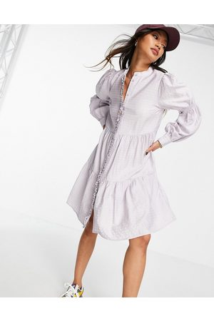 Y.A.S Shirt mini dress with tiering and shirred arms in check