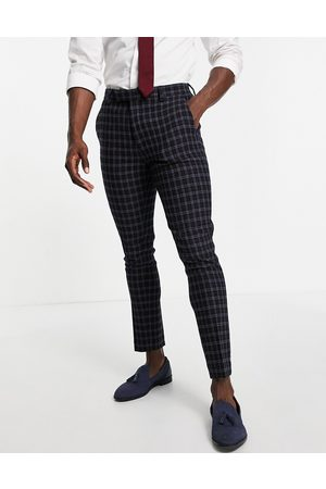 ASOS DESIGN Wedding super skinny wool mix suit trousers with grid window check in navy