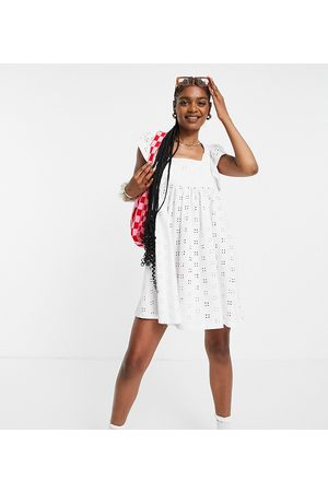 ASOS DESIGN Tall broderie babydoll mini dress with square neck and short frill sleeve in
