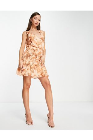 ASOS DESIGN Soft sleeveless mini dress with ruched skirt in tonal floral-Multi