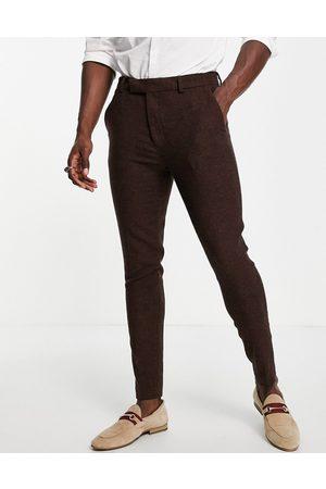 ASOS Men Formal Pants - Super skinny wool mix suit trousers in dark tweed