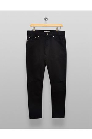 Topman Organic cotton blend stretch skinny double knee rip jeans in