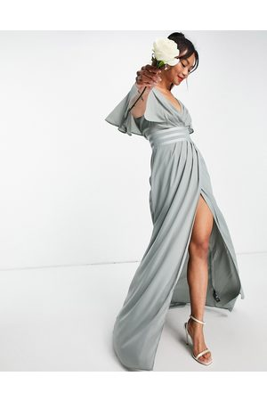 ASOS DESIGN Bridesmaid flutter sleeve maxi dress with satin trim detail and wrap skirt
