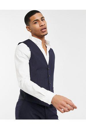 Burton Menswear Pinstripe waistcoat in navy