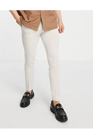 ASOS DESIGN Smart super skinny oxford trousers in stone-Neutral