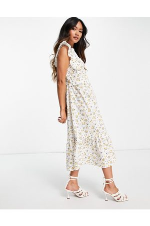 Aligne Women Printed Dresses - Organic cotton midi dress with frill detail and tie back in floral print-Multi