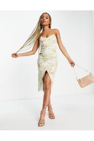 ASOS Bandeau tuck midi dress in floral print-Multi