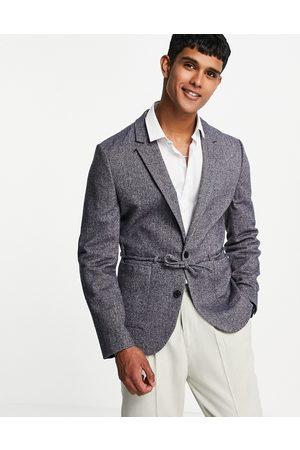 ASOS Skinny blazer in navy wool mix herringbone with belt detail
