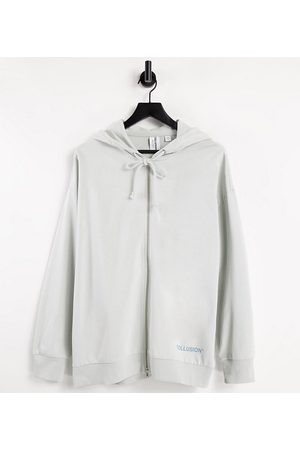 COLLUSION Zip through oversized hoodie with brand print in co-ord