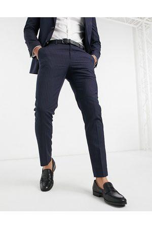 Burton Pinstripe slim fit suit trousers in navy