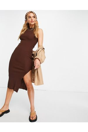 ASOS Midi dress with racer back in chocolate