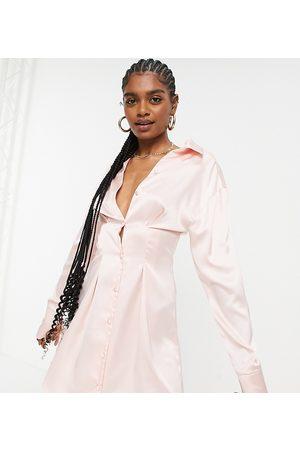 ASOS ASOS DESIGN Tall seam detail satin shirt mini dress in blush