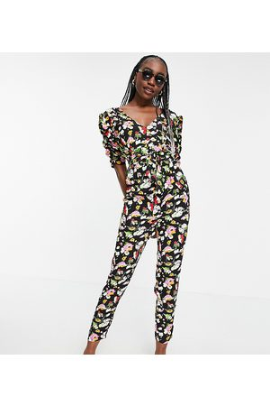 ASOS ASOS DESIGN tall ruched sleeve peg leg jumpsuit in floral print-Multi