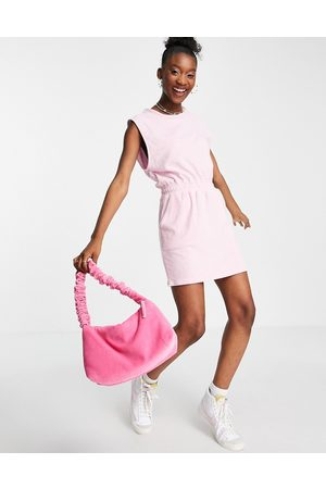 ASOS Towelling sleeveless ruched waist mini dress in baby